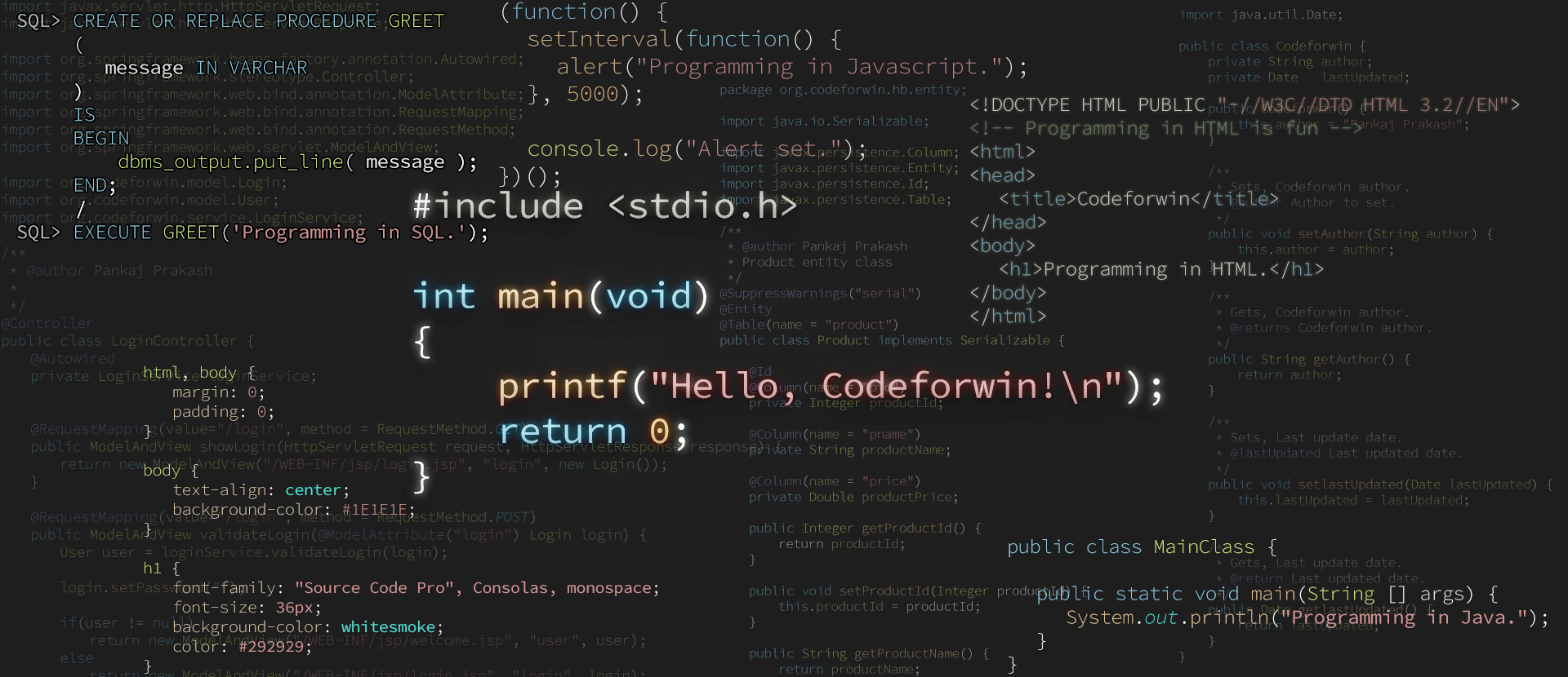 Codeforwin different programming languages