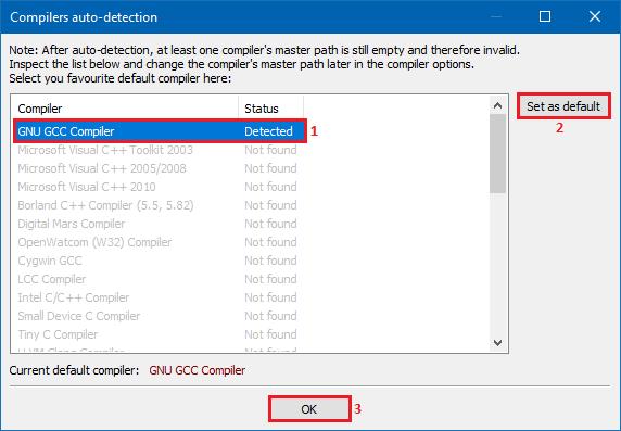 CodeBlocks compiler detection