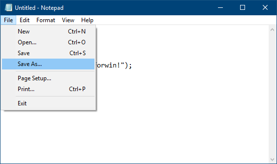 Click Save As to save C program