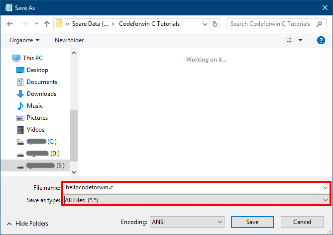 Save C program with .c extension
